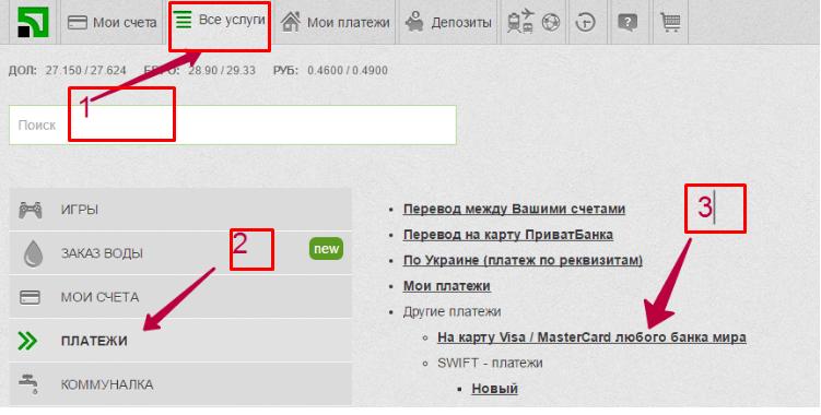 Переводы в Россию через Приват24